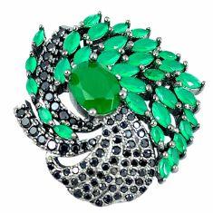 Natural green chalcedony topaz black rhodium 925 silver pendant jewelry c21816