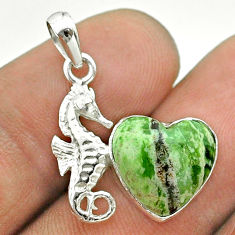 5.76cts natural green chrome chalcedony 925 silver seahorse pendant t55269