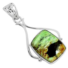 16.28cts natural green chrome chalcedony 925 sterling silver pendant r94663