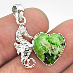 5.38cts natural green chrome chalcedony heart 925 silver seahorse pendant t55499