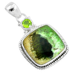 13.70cts natural green chrome chalcedony peridot 925 silver pendant r94662