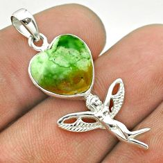 5.87cts natural green chrome chalcedony silver angel wings fairy pendant t55273
