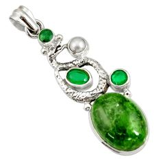 Clearance Sale- 15.17cts natural green chrome diopside 925 silver anaconda snake pendant d42580