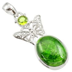 Clearance Sale- 16.93cts natural green chrome diopside 925 silver butterfly pendant d42002