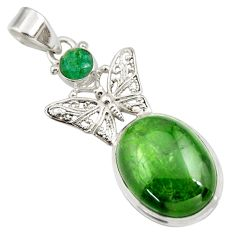 Clearance Sale- 17.38cts natural green chrome diopside 925 silver butterfly pendant d42007