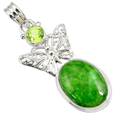 Clearance Sale- 14.12cts natural green chrome diopside 925 silver butterfly pendant d42550