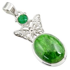 Clearance Sale- 17.36cts natural green chrome diopside 925 silver butterfly pendant d42553