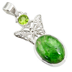Clearance Sale- 13.36cts natural green chrome diopside 925 silver butterfly pendant d42556