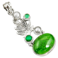 Clearance Sale- 16.05cts natural green chrome diopside 925 silver deltoid leaf pendant d42546