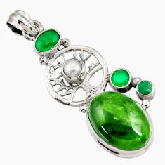 Clearance Sale- 16.93cts natural green chrome diopside 925 silver tree of life pendant d42547