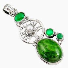 Clearance Sale- 16.46cts natural green chrome diopside 925 silver tree of life pendant d42559