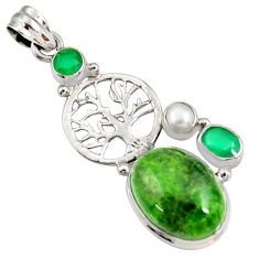 green chrome diopside 925 silver tree of life pendant d42568
