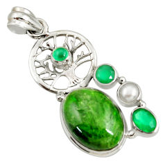 Clearance Sale- 16.42cts natural green chrome diopside 925 silver tree of life pendant d42577