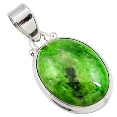 Clearance Sale- 13.57cts natural green chrome diopside 925 sterling silver pendant d42586