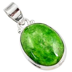 Clearance Sale- 12.22cts natural green chrome diopside 925 sterling silver pendant d42593