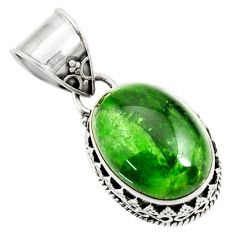 13.45cts natural green chrome diopside 925 sterling silver pendant d42652