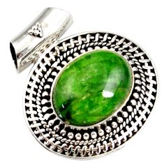 Clearance Sale- 9.88cts natural green chrome diopside 925 sterling silver pendant jewelry d42564