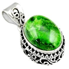 9.72cts natural green chrome diopside 925 sterling silver pendant jewelry r19022