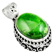 9.72cts natural green chrome diopside 925 sterling silver pendant jewelry r19024