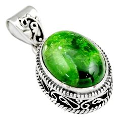 9.72cts natural green chrome diopside 925 sterling silver pendant jewelry r19028