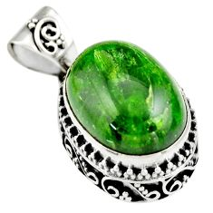 9.72cts natural green chrome diopside 925 sterling silver pendant jewelry r19029