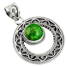 5.75cts natural green chrome diopside 925 sterling silver pendant jewelry r20282