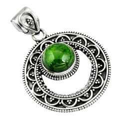 5.73cts natural green chrome diopside 925 sterling silver pendant jewelry r20283