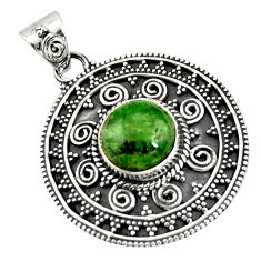 5.51cts natural green chrome diopside 925 sterling silver pendant jewelry r20287