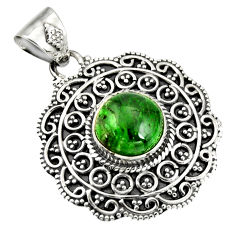 5.01cts natural green chrome diopside 925 sterling silver pendant jewelry r20288