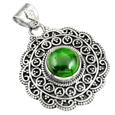 5.01cts natural green chrome diopside 925 sterling silver pendant jewelry r20290