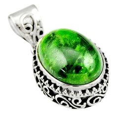 10.04cts natural green chrome diopside 925 sterling silver pendant r19021
