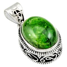 10.04cts natural green chrome diopside 925 sterling silver pendant r19026
