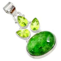 Clearance Sale- 17.67cts natural green chrome diopside chalcedony 925 silver pendant d42561