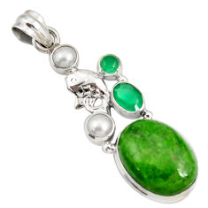 Clearance Sale- 17.77cts natural green chrome diopside chalcedony pearl silver pendant d42542
