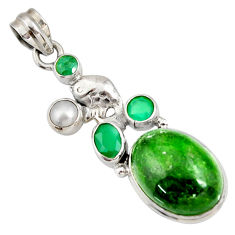 Clearance Sale- 17.77cts natural green chrome diopside chalcedony pearl silver pendant d42573