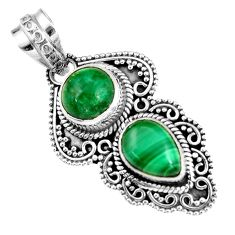 5.97cts natural green chrome diopside malachite 925 silver pendant r19562