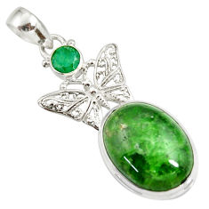 Clearance Sale- 17.38cts natural green chrome diopside oval 925 silver butterfly pendant d42552