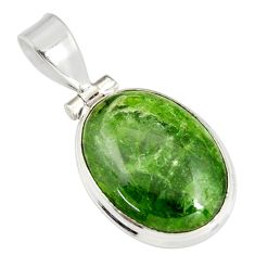 12.58cts natural green chrome diopside oval 925 sterling silver pendant r19585