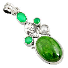 Clearance Sale- 16.93cts natural green chrome diopside oval chalcedony 925 silver pendant d42549