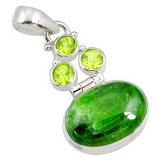 Clearance Sale- 14.72cts natural green chrome diopside oval peridot 925 silver pendant d42569