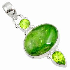 Clearance Sale- 13.87cts natural green chrome diopside oval peridot 925 silver pendant d42582