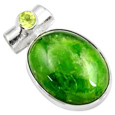 Clearance Sale- 15.08cts natural green chrome diopside oval peridot 925 silver pendant d42596
