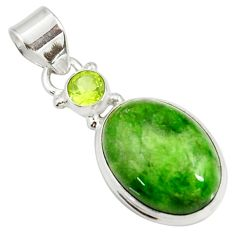 Clearance Sale- 14.72cts natural green chrome diopside oval peridot 925 silver pendant d42601