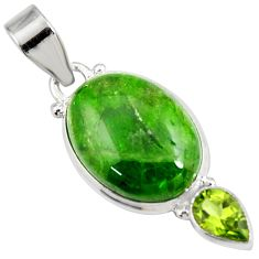 Clearance Sale- 14.07cts natural green chrome diopside oval peridot 925 silver pendant d42603