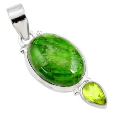 Clearance Sale- 15.08cts natural green chrome diopside oval peridot 925 silver pendant d42606