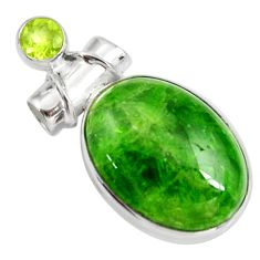16.73cts natural green chrome diopside oval peridot 925 silver pendant d42635