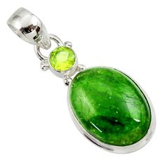 13.70cts natural green chrome diopside oval peridot 925 silver pendant d45405