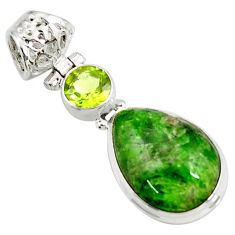 Clearance Sale- 14.23cts natural green chrome diopside pear peridot 925 silver pendant d42581