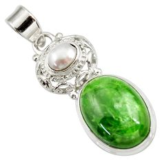 Clearance Sale- 14.88cts natural green chrome diopside pearl 925 sterling silver pendant d42001