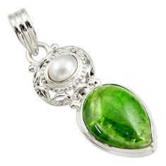 Clearance Sale- 14.26cts natural green chrome diopside pearl 925 sterling silver pendant d42004